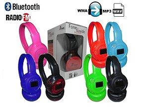 Fone de ouvido bluetooth sem fio com visor digital mp3