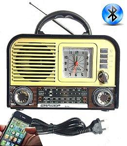 Radio Am Fm Sw Com Despertador Relogio Bateria Bluetooth Usb