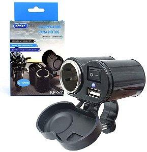 CARREGADOR PARA MOTOS KNUP KP-572 C/ CHAVE LIGA E DESLIGA - TOMADAS 12VDC E USB 5VDC - IDEAL P/ CELULARES E GPS - COMPATÍVEL COM TODAS AS MOTOS