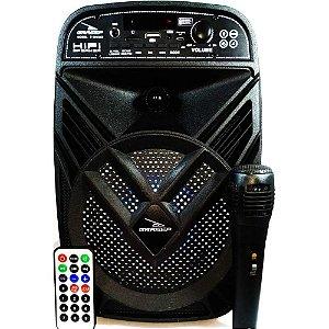 CAIXA DE SOM GRASEP BLUETOOTH MODELO D-BH6102 PRETA C/ MICROFONE E CONTROLE - RÁDIO FM - SOM HIFI - 15W RMS - ENTRADA SD E USB