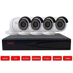 Kit Dvr 04 Canais, 5 em 1 (CVI, AHD, TVI, IP, CVBS) ípega KP-CA234 1080P FullHD + 4 Câmeras HD 720P 1MP