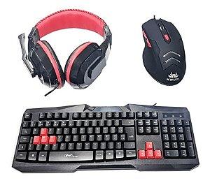 Kit Gamer 4 Em 1 Teclado + Mouse 3200dpi + Headset + Mouse Pad