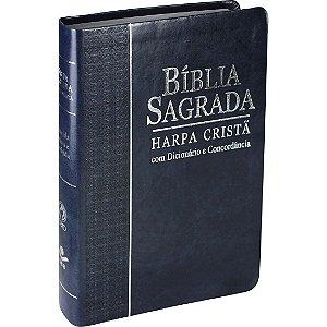 Bíblia Sagrada Letra Grande com Concordância, Dicionário e Harpa Cristã - Azul