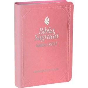 Bíblia Sagrada com Harpa Cristã - Rosa Claro