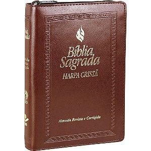 Bíblia Sagrada com Harpa Cristã - Zíper - Marrom