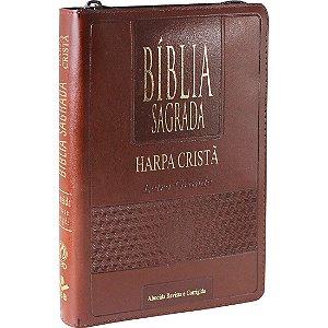 Bíblia Sagrada Letra Grande com Harpa Cristã - Zíper - Marrom
