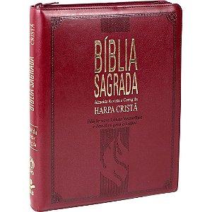 Bíblia Sagrada Letra Extragigante com Harpa Cristã - Vinho