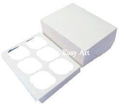 Caixas para 6 Cupcakes com Berço - Branco