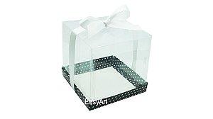 Caixinhas para Mini Bolos 8x8x8 - Preto com Poás Brancas