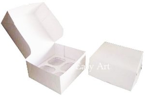 Caixas para 4 Cupcakes - Branco
