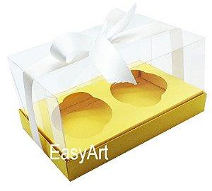 Caixas para Dois Cupcakes / Dois Mini Panetones - Amarelo