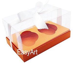 Caixas para 02 Cupcakes - Laranja