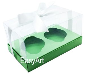 Caixas para Dois Cupcakes / Dois Mini Panetones - Verde Pistache