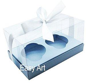Caixas para Dois Cupcakes / Dois Mini Panetones - Azul Claro