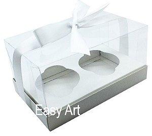 Caixas para Dois Cupcakes / Dois Mini Panetones - Branco