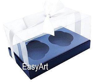Caixas para Dois Cupcakes / Dois Mini Panetones - Azul Marinho