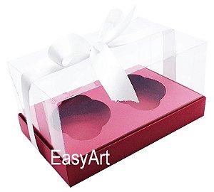 Caixas para Dois Cupcakes / Dois Mini Panetones - Vermelho