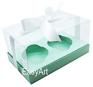 Caixas para Dois Cupcakes / Dois Mini Panetones - Verde Claro