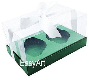 Caixas para Dois Cupcakes / Dois Mini Panetones - Verde Bandeira