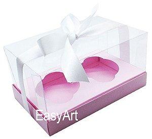 Caixas para Dois Cupcakes / Dois Mini Panetones - Rosa Claro