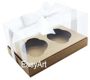 Caixas para 02 Cupcakes - Kraft