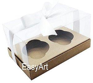 Caixas para Dois Cupcakes / Dois Mini Panetones - Kraft