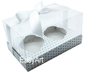 Caixas para Dois Cupcakes / Dois Mini Panetones - Branco com Poá Azul