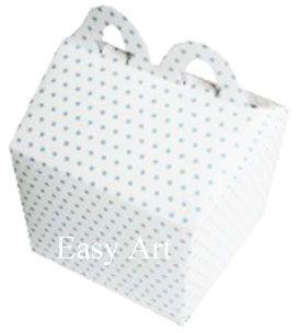 Caixa Maleta - Branco com Poás Azuis