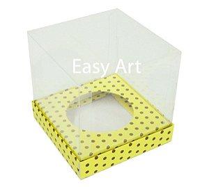 Caixas para Cupcakes - Amarelo com Poás Marrom