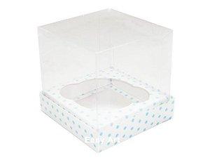 Caixas para 1 Mini Cupcake - Branco com Poás Azuis