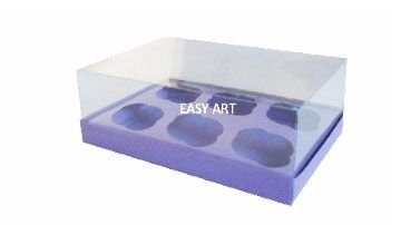 Caixas para 6 Mini Cupcakes - Lilás