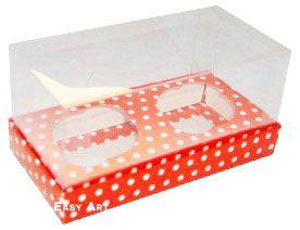 Caixas para 2 Mini Cupcakes - Vermelho com Poás Brancas