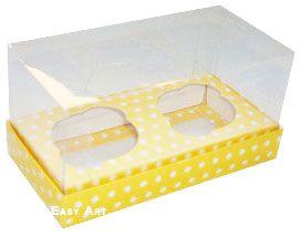 Caixas para 2 Mini Cupcakes - Amarelo com Poás Brancas