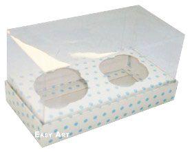 Caixas para 2 Mini Cupcakes - Branco com Poás Azuis