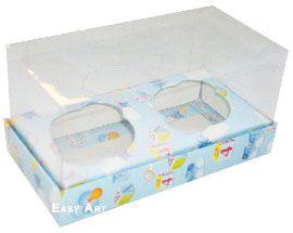 Caixas para 2 Mini Cupcakes - Estampado Bebê Azul