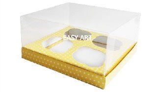 Caixas para Cupcakes - Amarelo com Poás Brancas
