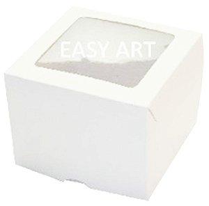 Caixas para 1 Cupcake com Visor 11x11x9 - Branco