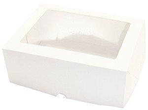 Caixas para 6 Cupcakes com Visor - Branco