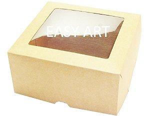Caixas para 4 Cupcakes com Visor - Kraft