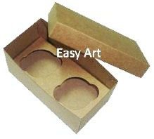 Caixas para Transporte de 2 Mini Cupcakes - Kraft