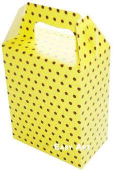Caixa Maleta - Amarelo com Poás Marrom