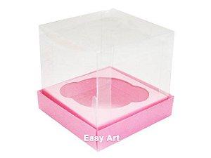 Caixas para 1 Mini Cupcake 6x6x7,5 - Rosa Claro