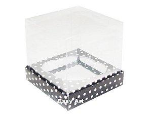 Caixas para 1 Mini Cupcake - Preto com Poás Brancas