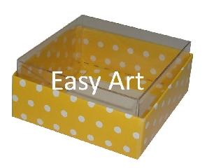 Caixinhas para Bijuterias / Amarelo com Poás Brancas - 5x5x2,5