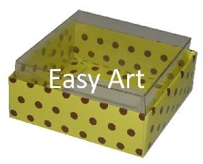 Caixinhas para Bijuterias / Amarelo com Poás Marrom - 5x5x2,5