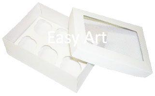 Caixas para 6 Mini Cupcakes com Visor - Branco