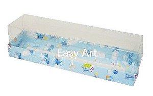 Caixas para 7 Macarons / 4 Brigadeiros - Estampado Bebê Azul