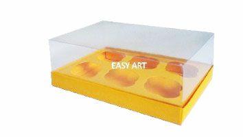 Caixas para 6 Mini Cupcakes - Laranja Claro