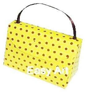 Caixa Bolsinha - Amarelo com Poás Marrom
