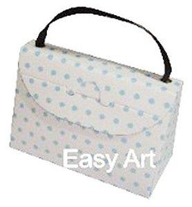 Caixa Bolsinha - Branco com Poás Azuis